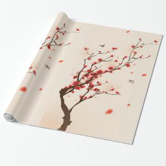 アジアスタイルの絵画、春のプラム花 ラッピングペーパー