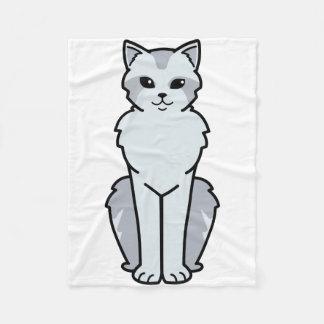 アジア半長髪の猫の漫画 フリースブランケット