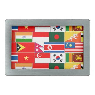 アジア旗 長方形ベルトバックル
