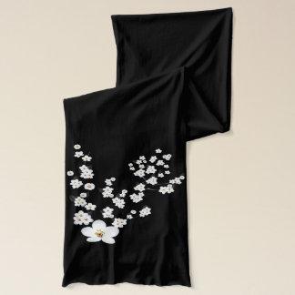 アジア桜の赤い白黒 スカーフ