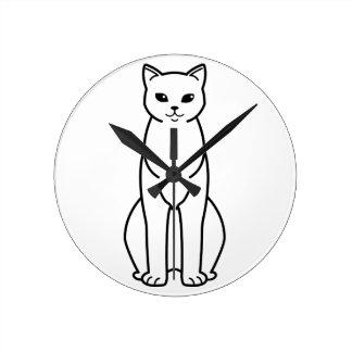 アジア煙猫の漫画 ラウンド壁時計