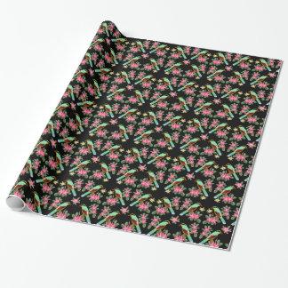 アジア緑のカササギの鳥の包装紙 ラッピングペーパー