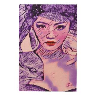 アジア美しいの抽象芸術の水彩画のポートレートの芸術 ウッドウォールアート