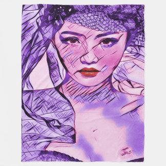 アジア美しいの抽象芸術の水彩画のポートレートの芸術 フリースブランケット