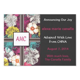 アジア花のモノグラムのな採用の発表 カード