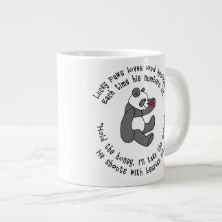 アジア記号を用いる幸運な足のパンダの大きいマグ ジャンボコーヒーマグカップ