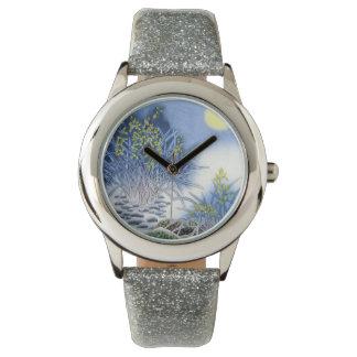アジア青い水彩画 腕時計