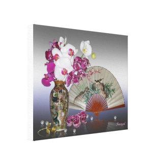 アジア静物画の蘭、ファンおよび真珠 キャンバスプリント