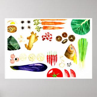 アジア食糧料理の水彩画ポスター プリント