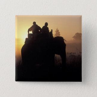 アジア、インド、Kanha NPの象のサファリ 5.1cm 正方形バッジ