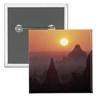 アジア、ビルマ、(ミャンマー)、異教徒(Bagan)寺院 5.1cm 正方形バッジ