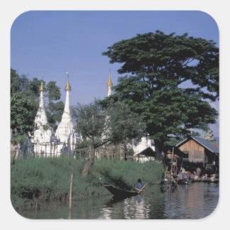 アジア、ミャンマーのInle湖。 浮遊市場 スクエアシール