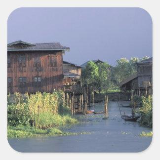 アジア、ミャンマーのInle湖。 浮遊村 スクエアシール