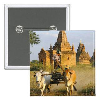 アジア、ミャンマー(ビルマ)、Bagan (異教徒)。 カートはあります 5.1cm 正方形バッジ