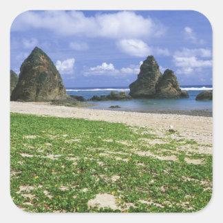 アジア、日本、沖縄のYambaruの海岸線、海 スクエアシール