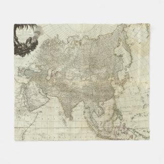 アジア(1757年)のヴィンテージの地図 フリースブランケット