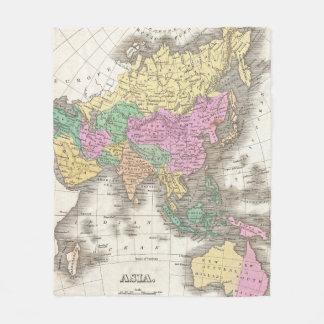 アジア(1827年)のヴィンテージの地図 フリースブランケット
