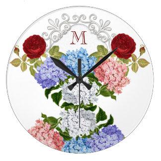 アジサイのバラのモノグラムの柱時計 ラージ壁時計