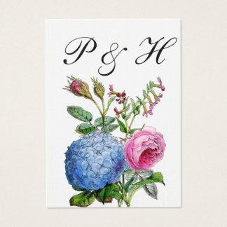 アジサイのバラの花の結婚式の座席表 名刺