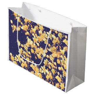 アジサイの夜および金ゴールド ラージペーパーバッグ