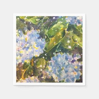 アジサイの水彩画のプリントのナプキン スタンダードカクテルナプキン