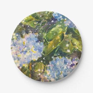 アジサイの水彩画のプリントの紙皿 ペーパープレート