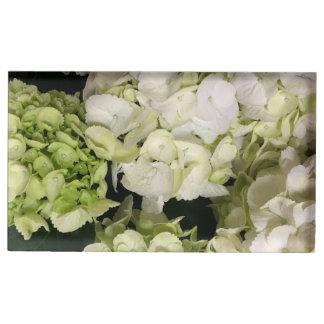 アジサイの白い緑の結婚式の続き テーブルカードホルダー
