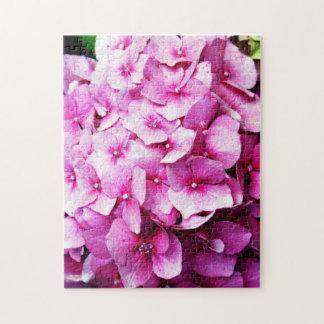 アジサイの花、ピンクおよび赤 ジグソーパズル
