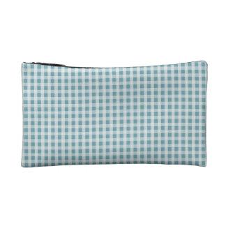 アジサイの青いギンガムの点検の格子縞パターン コスメティックバッグ