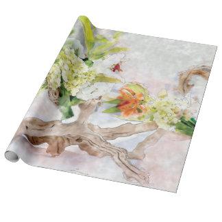 アジサイのBellaの水彩画のリネン包装紙 ラッピングペーパー