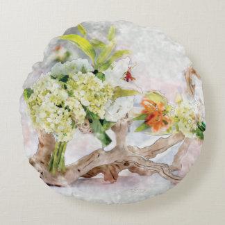 """アジサイのBellaの水彩画の円形の枕(16"""") ラウンドクッション"""