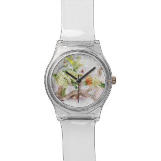 アジサイのBellaの水彩画の女性用腕時計 腕時計