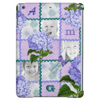 アジサイのInstagramの写真のキルトフレームの紫色のティール(緑がかった色)