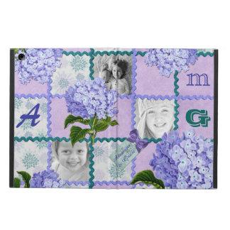 アジサイのInstagramの写真のキルトフレームの紫色のティール(緑がかった色) iPad Airケース