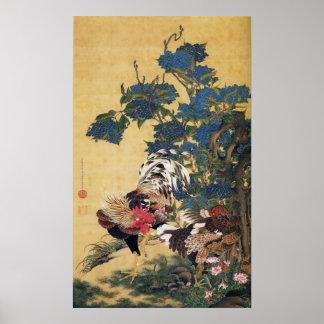 アジサイポスターを持つJakuchu、オンドリおよび雌鶏 ポスター