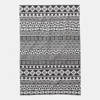 アステカなスタイルの繰り返しパターン-白黒 キッチンタオル