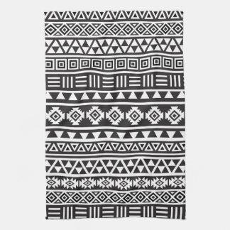 アステカなスタイルパターン-白黒 キッチンタオル