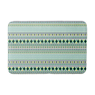 アステカなスタイル種族パターン白い青緑 バスマット