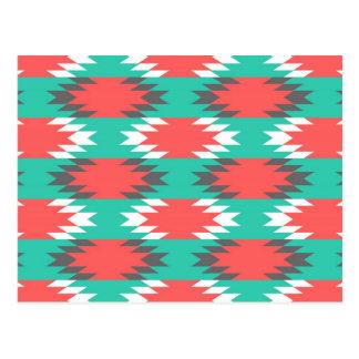 アステカなネイティブアメリカンのターコイズおよびピンクパターン ポストカード