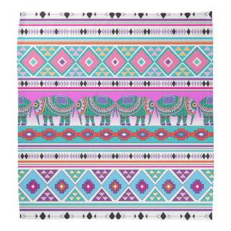 アステカなパターンモダンの象 バンダナ