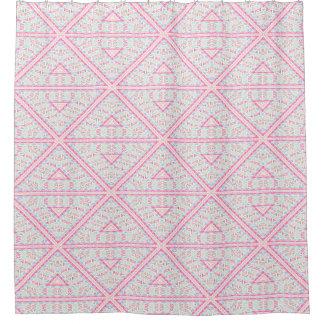 アステカなピンクのファンキーな種族パターン シャワーカーテン