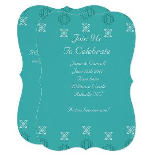 アステカなプリントの青の招待 カード