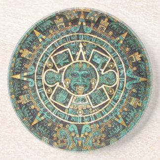 アステカなマヤの古代円形ディスクカレンダー コースター
