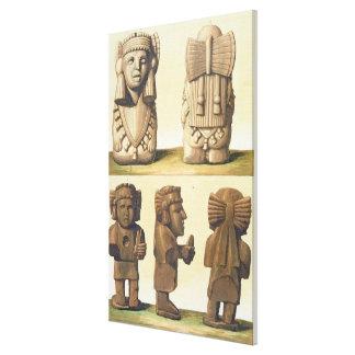 アステカな偶像、メキシコ(多色石版) キャンバスプリント