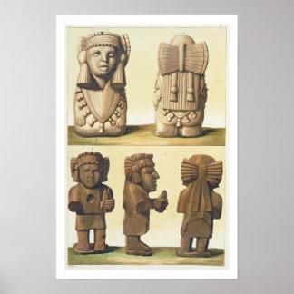 アステカな偶像、メキシコ(多色石版) ポスター