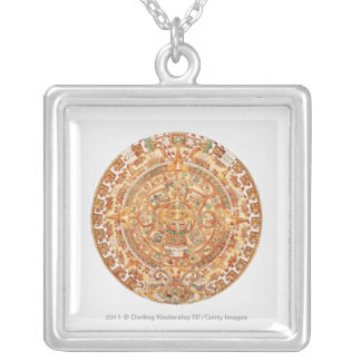 アステカな太陽の石のイラストレーション シルバープレートネックレス