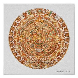 アステカな太陽の石のイラストレーション ポスター