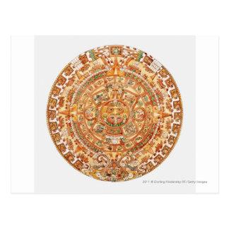 アステカな太陽の石のイラストレーション ポストカード