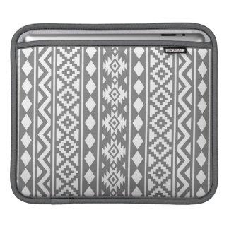 アステカな本質の灰色の縦のPtn IIIの白 iPadスリーブ