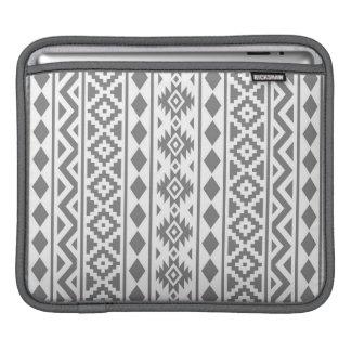 アステカな本質の白の縦のPtn IIIの灰色 iPadスリーブ